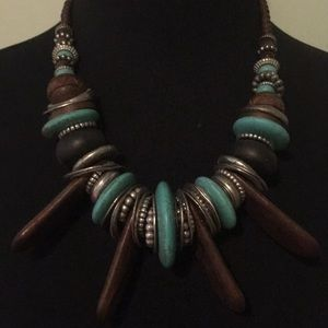 Turquoise silver wooden necklace